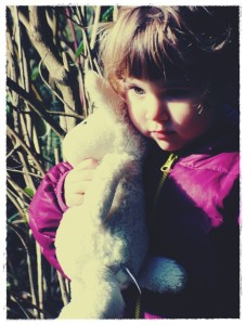 Routine versus Schedule: a little girl with her stuffed bunny.
