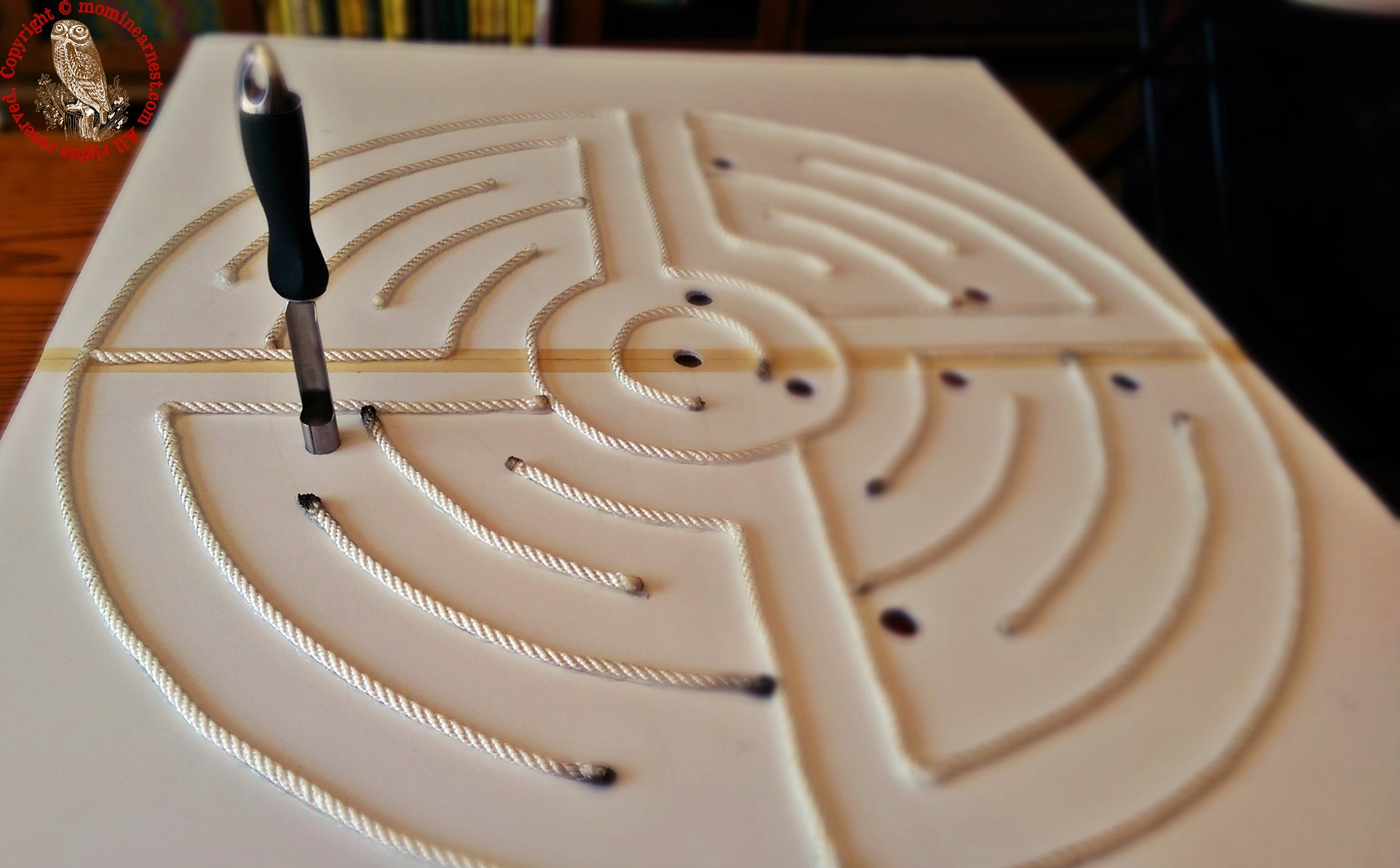 drill holes in labyrinth using apple corer