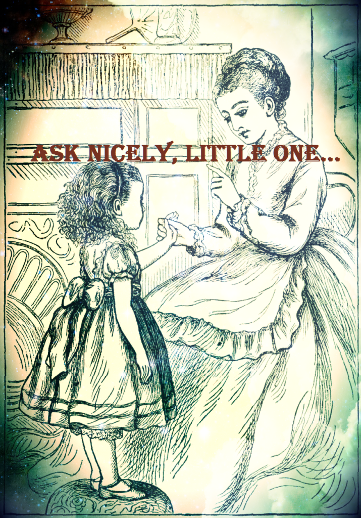 Help Them Be Civil: Teach Your Children to Speak Politely. Drawing showing a mother teaching her child to ask politely.