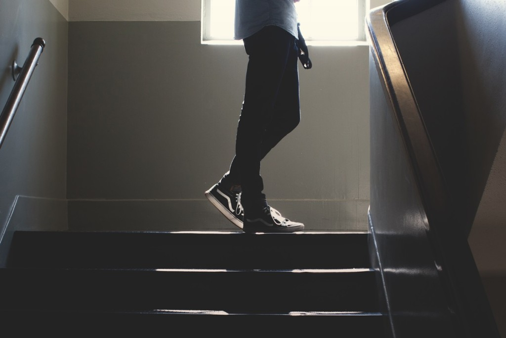 Emotions and Problem Solving: a student walking up a school stairway.
